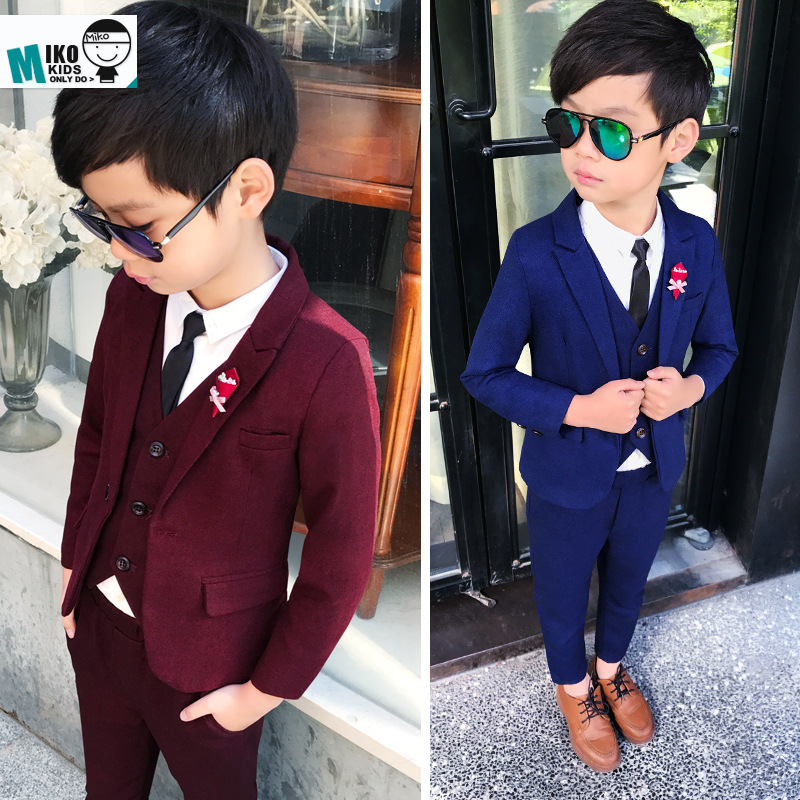 British style spring and autumn new boy small suit suit children Korean version of the flower girl dress three-piece suit 2018 spring new style korean version of the white suit of the boy children s small suit flower girl dress boy presided over