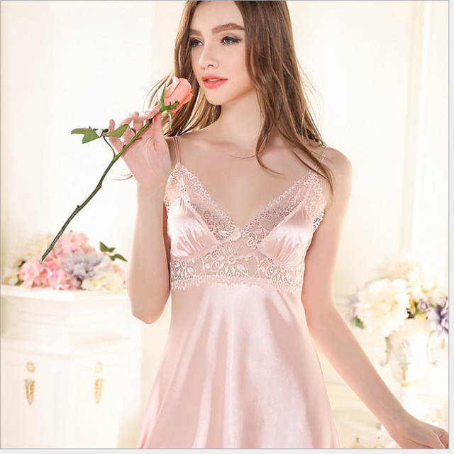 2017 Luxury Nightdress Summer Sexy Lace Hollow Out Sling Silk Nightgowns Sleepwear Home Dress for Ladies Women Girls