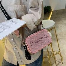 ETAILL Double zipper Full Diamond Crossbody Bags For Women 2019 Letter Shoulder Female PU Leather Wide Strap Rivet