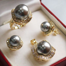 1Set AAA 10mm &14mm gray South sea Shell Pearl Earrings Necklace Ring Set No box
