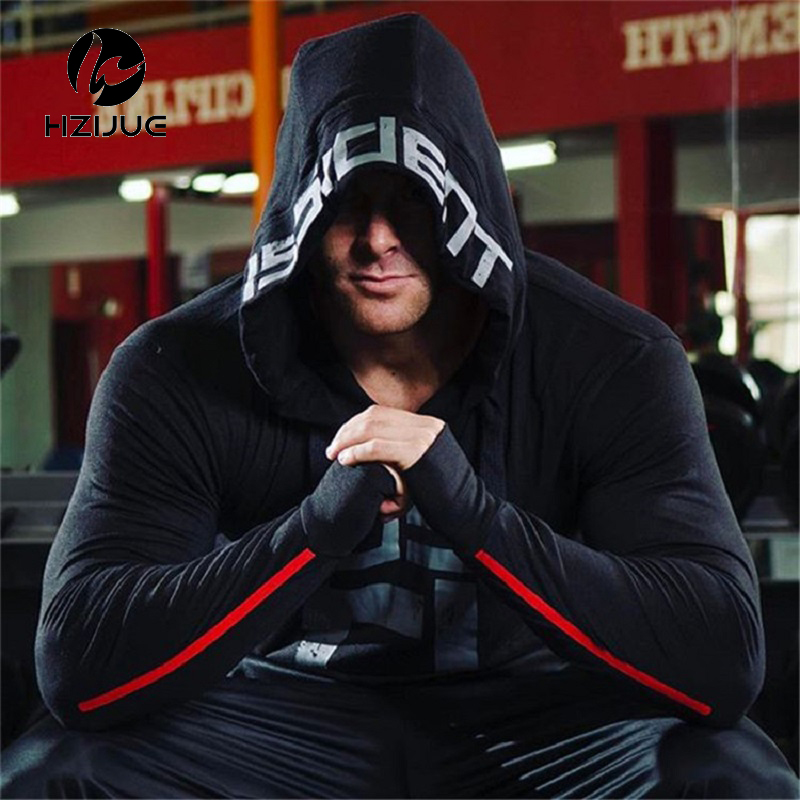 2018 Men Sweatshirt Hoodies printing Hooded pullover Male Gyms Fitness workout sportswear fashion Casual Brand clothing