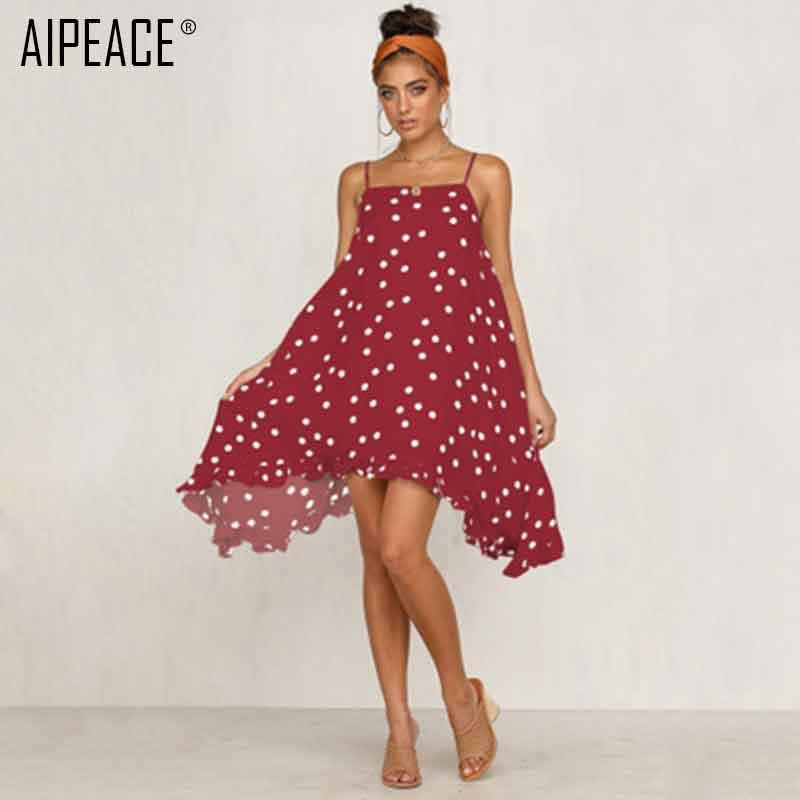 FleißIg Aipeace Sommer Frauen Sexy Mode Band Kleid Frauen Welle Punkt Chiffon-kleid Dame Casual Urlaub Unregelmäßigen Muster A-line Kleid Frauen Kleidung & Zubehör