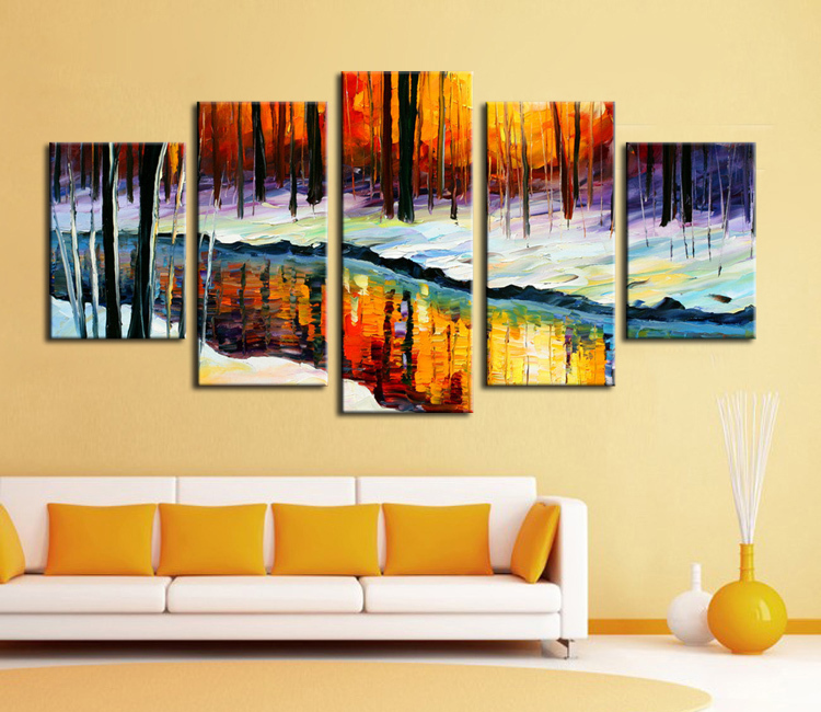 5 Panel Wall Decor Modern Art Set Forest River In Cold Winter ...