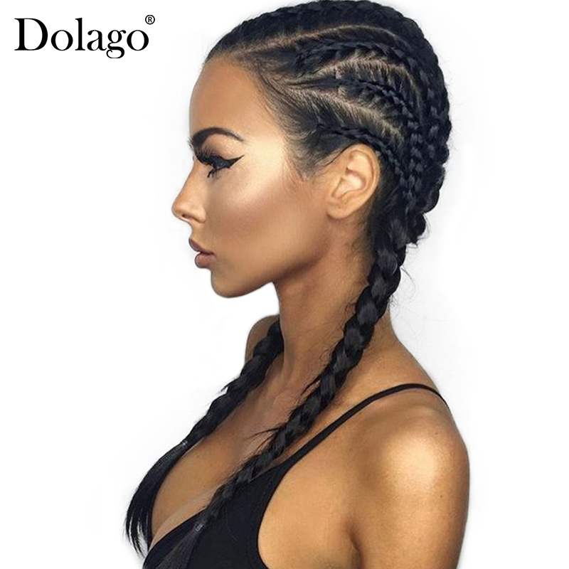 Lige Glueless Full Lace Human Hair Parykker For Kvinder 250% Brazilian Lace Paryk Pre Plucked With Baby Hair Black Dolago Braid Remy