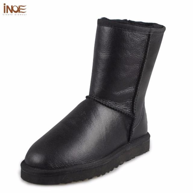 INOE Clásico de mitad de la pantorrilla de cuero de piel de oveja genuina piel de oveja de verdad forrado invierno cargadores de la nieve para las mujeres zapatos de invierno a prueba de agua negro
