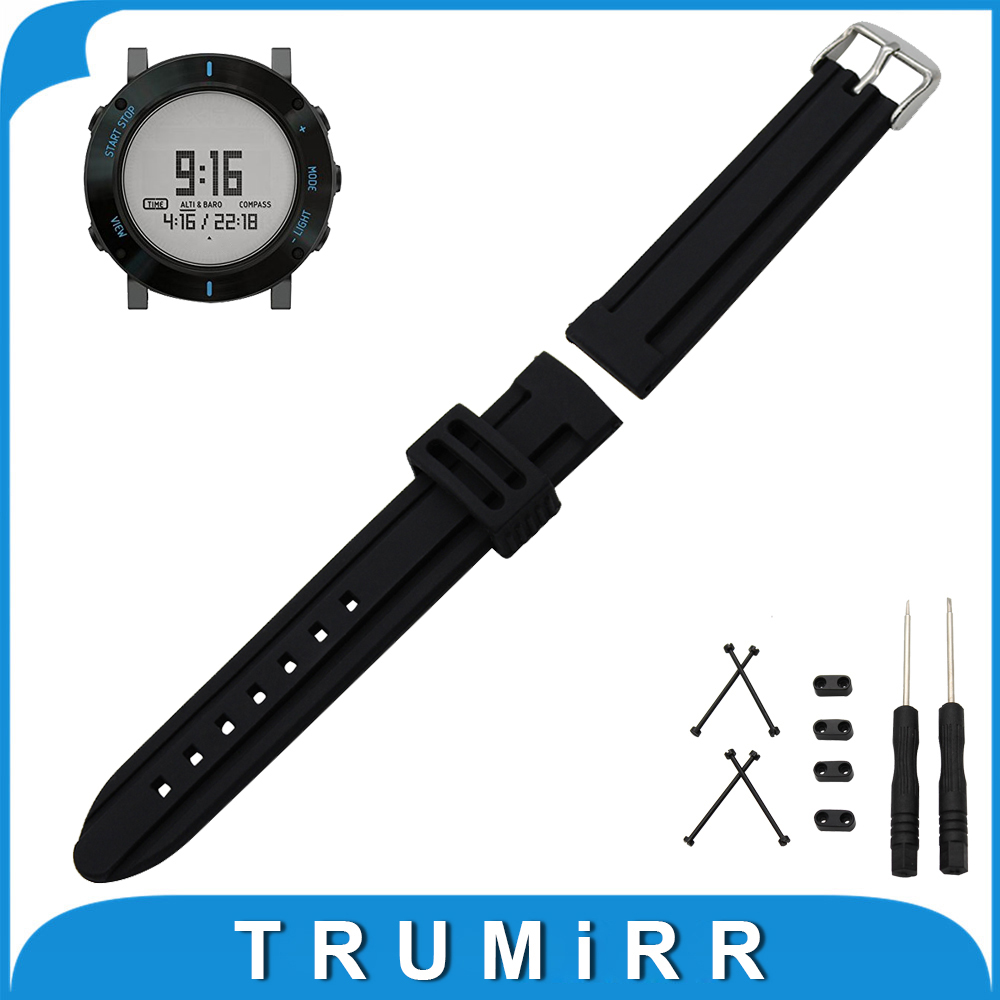 24mm Silicone Rubber Watch Band + Lug Adapter + Tool for Suunto Core Stainless Steel Buckle Strap Belt Wrist Bracelet Black stainless steel watch band 24mm for suunto core safety clasp strap loop belt bracelet black rose gold silver tool lug adapter