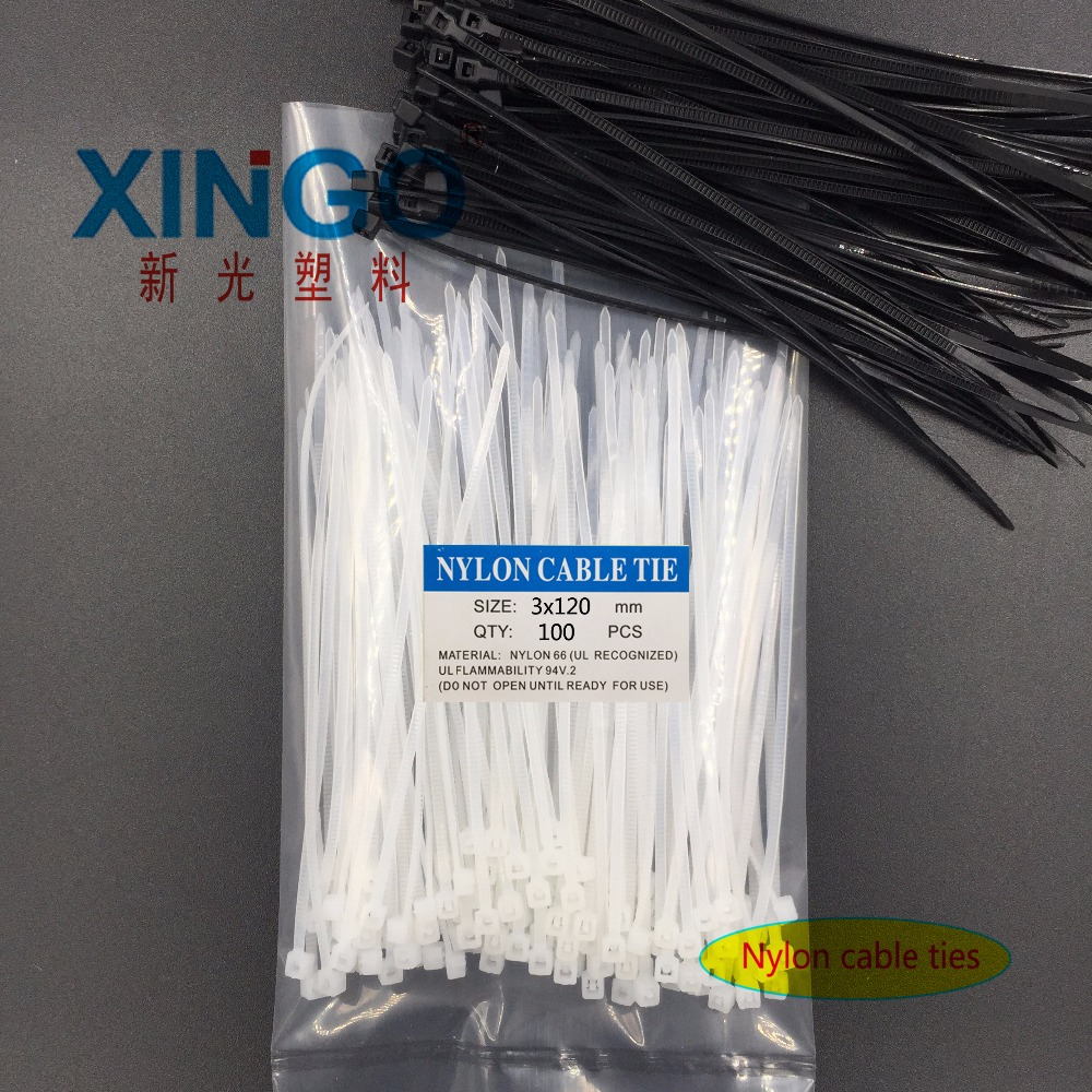 100Pcs/pack 3*120 3x120 High Quality Width 2.5mm White BLack Self-locking Plastic Nylon Cable Ties,Wire Zip Tie