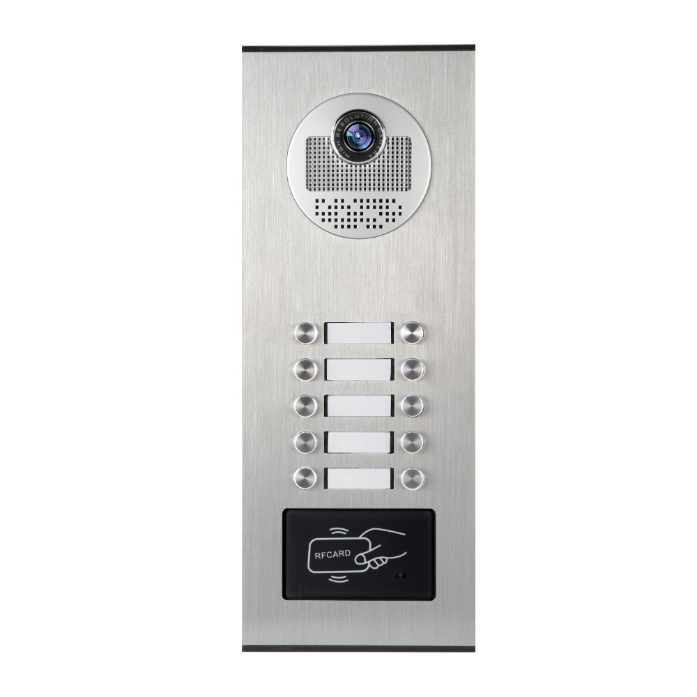 YobangSecurity 4.3 Inch Color Video Phone Doorbell Camera Entry Intercom System RFID Access Control For 10 Unit Apartment Door