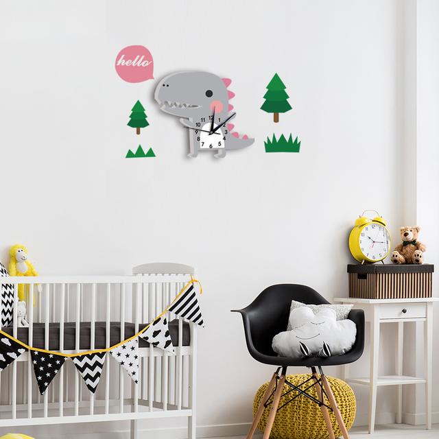 3D Cartoon Digital Wall Clock Home Design Decoration For Kid Bedroom Tiger Dinosaurs Sloth Birthday Christmas New Year Gift