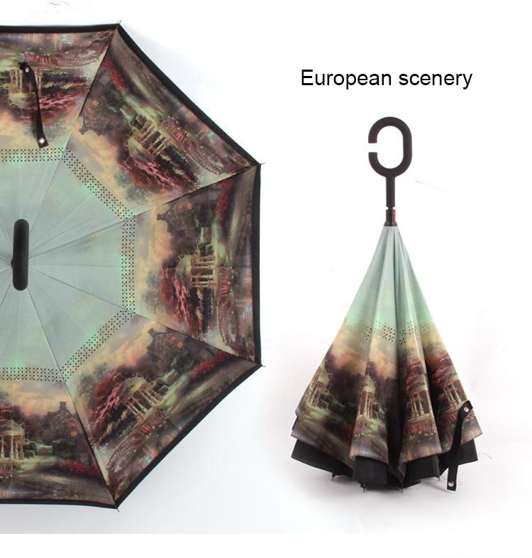 C ручкой ветрозащитный обратный складной зонтик для мужчин и женщин Защита от солнца дождь автомобиль перевернутый Зонты Двойной слой анти УФ Самостоятельная стойка Parapluie - Цвет: european scenery