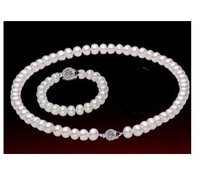 Elegant 100 Real Pearl Necklaces Bracelet Set 18inch White Natural Pearl AAA 9 10mm Highlight Pearl