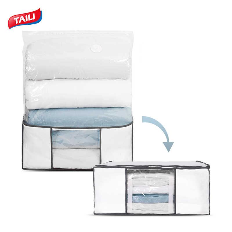 Taili Large Vacuum Storage Box Foldable Non-Woven Fabric Storage Underbed Bin For Clothes Quilt Duvet Storage Organizer