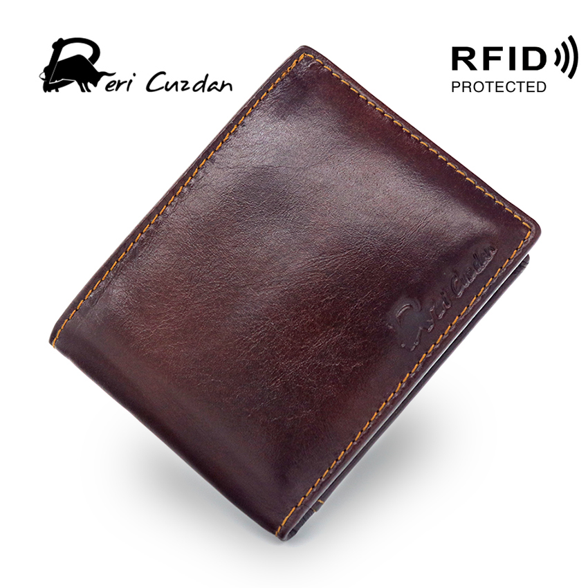 DERI CUZDAN RFID Wallet Vintage Mens Short Wallet Leather Genuine Double Photo Holder Rfid Blocking Slim Leather Wallet Dollar туфли deri