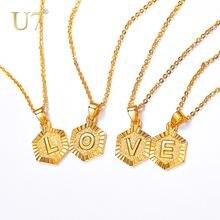 Ожерелья u7 с маленькими буквами для женщин/девушек подвеска