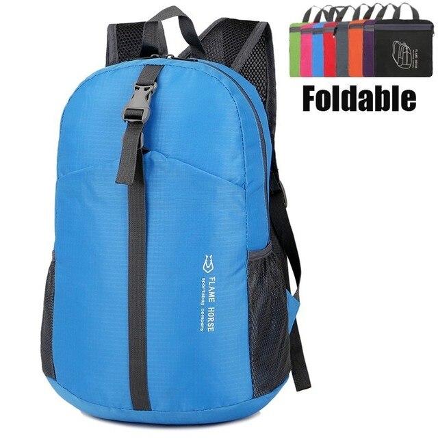 e052229b2 Nylon bolso plegable impermeable Unisex mochilas hombre senderismo  ultraligero mochila de viaje plegable Gym Yoga bolsas
