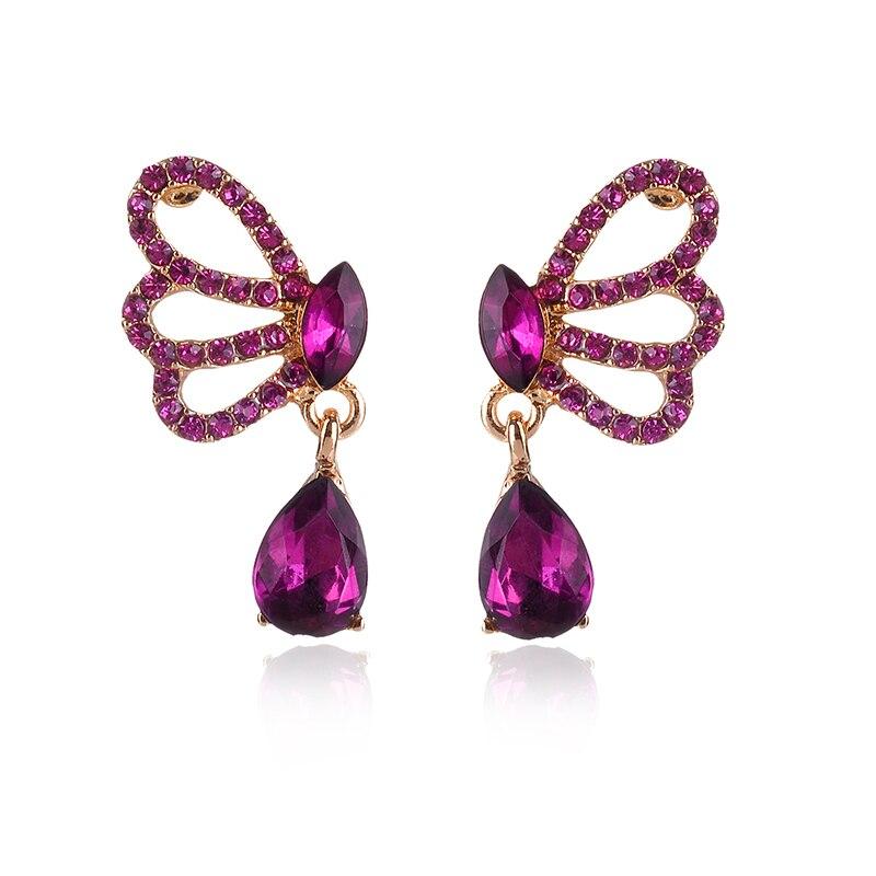 Красивые серьги-гвоздики с кристаллами и бабочками, цветные серьги-гвоздики с опалом и Каплевидным камнем, серьги для пирсинга, женские Украшения, рождественский подарок 2018