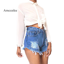 Summer tassel Denim Shorts Female Casual Vintage Women Jeans Shorts Tassel Denim Shorts High Quality Wash Jeans(China)