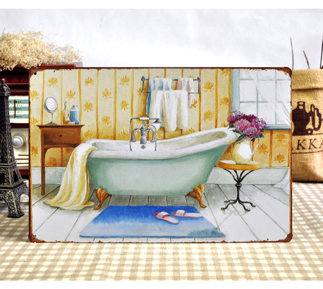 Metal Tin Signs Bathroom Poster Bathtub Retro Painting Vintage Wall Art Home Bar Cafe
