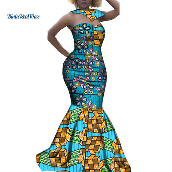 New Dashiki African Print Long Dresses for Women Bazin Riche African Clothes Mermaid Dresses with Cape Choker Vestidos WY3436