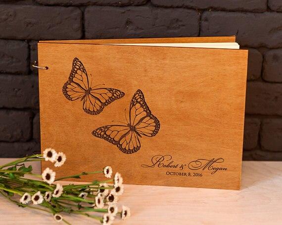 Guestbook Wedding Rustic guest book Wood guest book Love Butterflies Custom Engraved Unique guest book Wedding guest book ideas