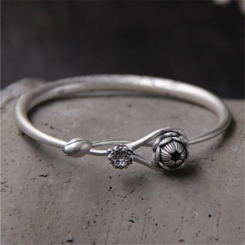 Vintage 100 999 Sterling Silver Fish Lotus Seedpod Carved Bracelets Bangle Women Lucky Jewelry 5mm Thickness 33G in Bracelets Bangles from Jewelry Accessories