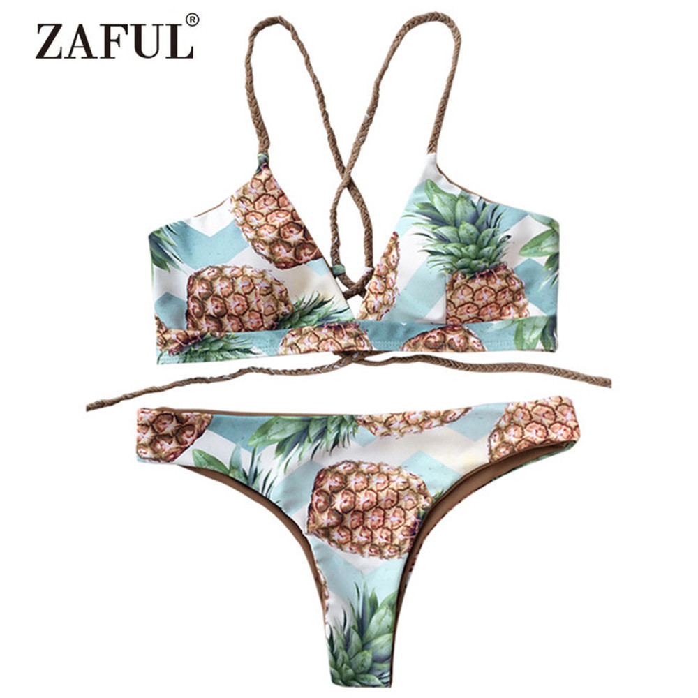 Zaful Back Strappy Pineapple Print Bikini Set Women Sexy Spaghetti Straps Pineapple Print Summer Swimsuit Bathing Suit sexy spaghetti strap flounce pineapple print bikini set for women