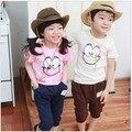 Дети дети лето одежда девочка мальчик комплект улыбка лицо короткий рукав футболки брюки костюмы