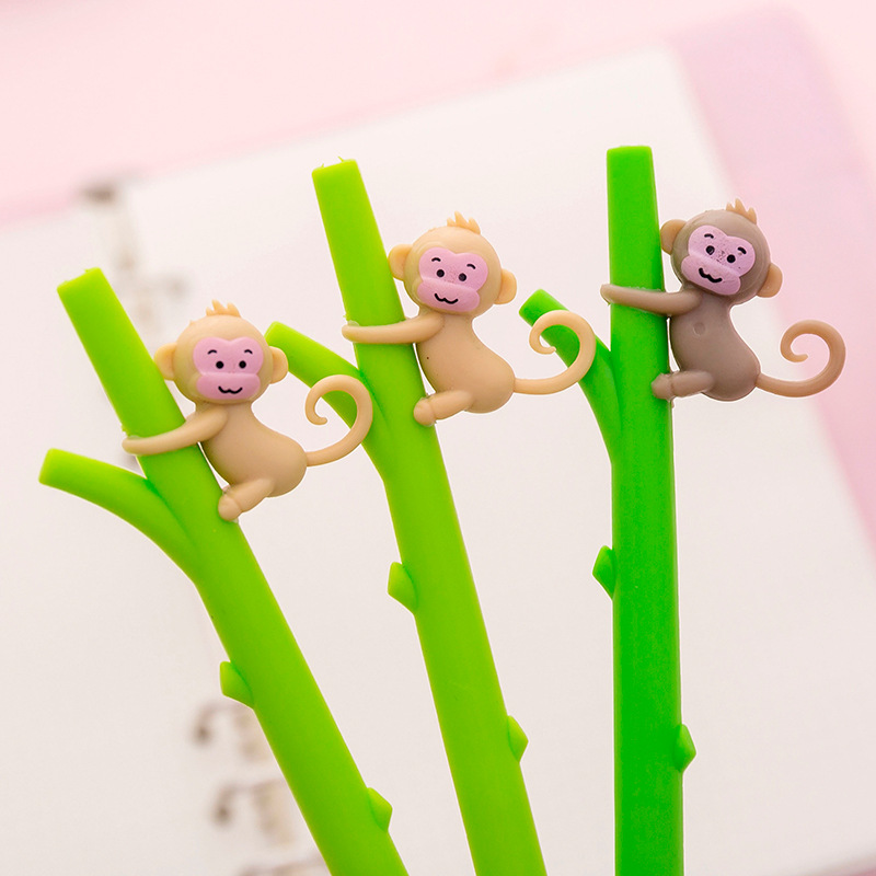 2 Pcs/lot Cartoon Monkey Gel Pens Cute Bamboo 0.5mm Black Ink Neutral Pen Material Escolar Stationery School Writing Supplies Rich In Poetic And Pictorial Splendor Gel Pens Pens, Pencils & Writing Supplies