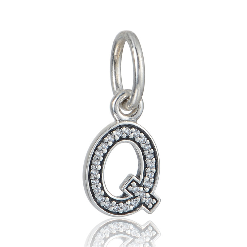 Number 6 Silver Dangle With Cubic Zirconia