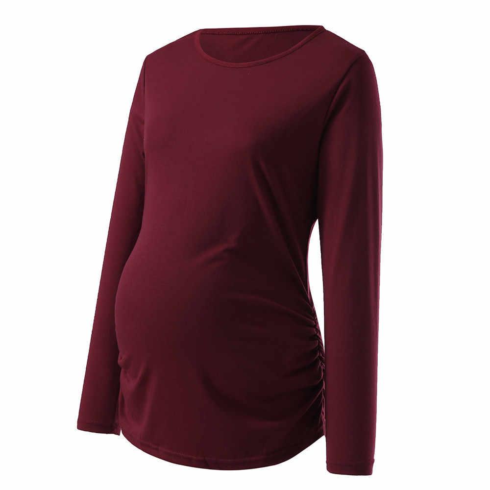 2019 Mulheres Camisa De Maternidade Top De Manga Comprida Básica Camiseta Para Grávidas Roupas ropa de mujer vestido de enfermagem da maternidade tops