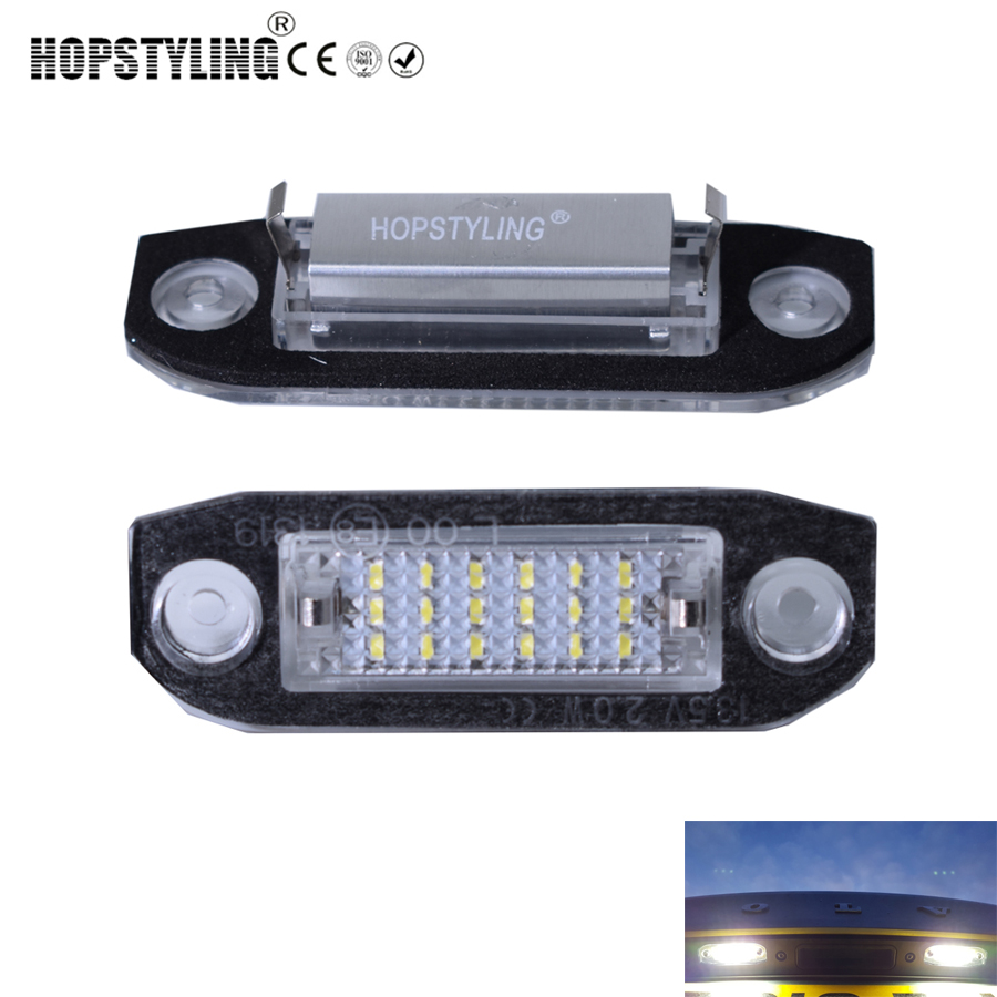 Hopstyling 2pcs No Error Canbus LED license plate light for Volvo XC70 V50 C70 V70 S60 XC60 V60 S40 XC90 S80 car accessory 2x led car styling canbus no error code license plate lamp for smart fortwo rear number plate light auto accessory