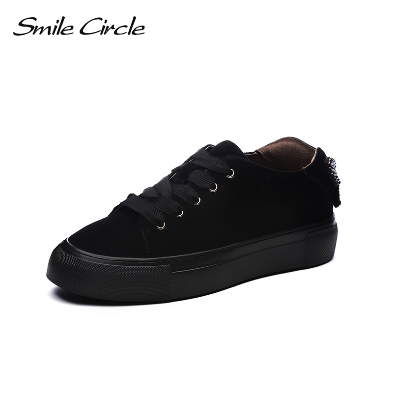 Smile Circle 2018 Spring Suede Leather Sneakers Women Fashion Rhinestone Lace-up Flat Platform Shoes Girl Casual Shoes A9A8119-1 smile circle spring autumn sneakers women lace up flat shoes for women fashion rhinestones casual platform shoes flat shoes girl