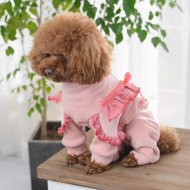 OnnPnnQ для домашних любимцев собак Зимний комплект теплой одежды розового цвета пальто комбинезон пакет живот мягкий бархат Кофты для щенков Йоркширский Пудель костюмы для собак