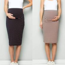 Летняя модная женская юбка, юбка для беременных из смесового хлопка, удобная юбка-карандаш в полоску с высокой талией и контролем живота