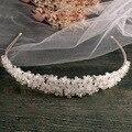 Plata hechos a mano diadema nupcial cristalino lleno nupcial celada Prom Crown hairbands accesorios pelo de la boda nupcial de la vendimia