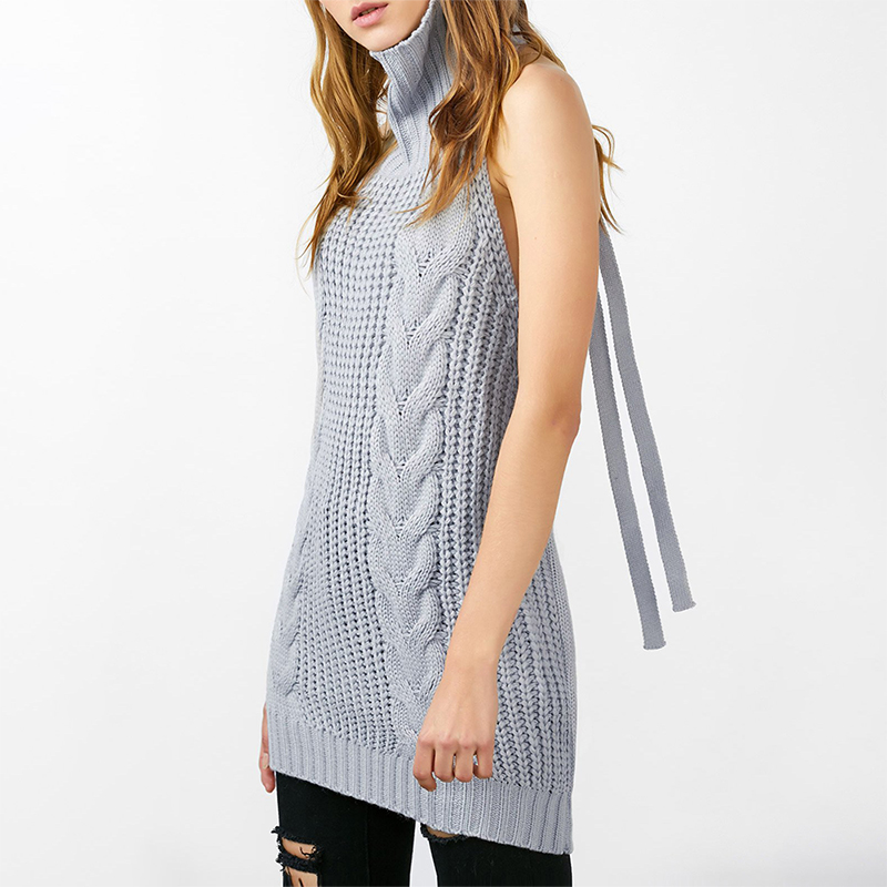 Long Virgin Killer Backless Sweater Turtleneck
