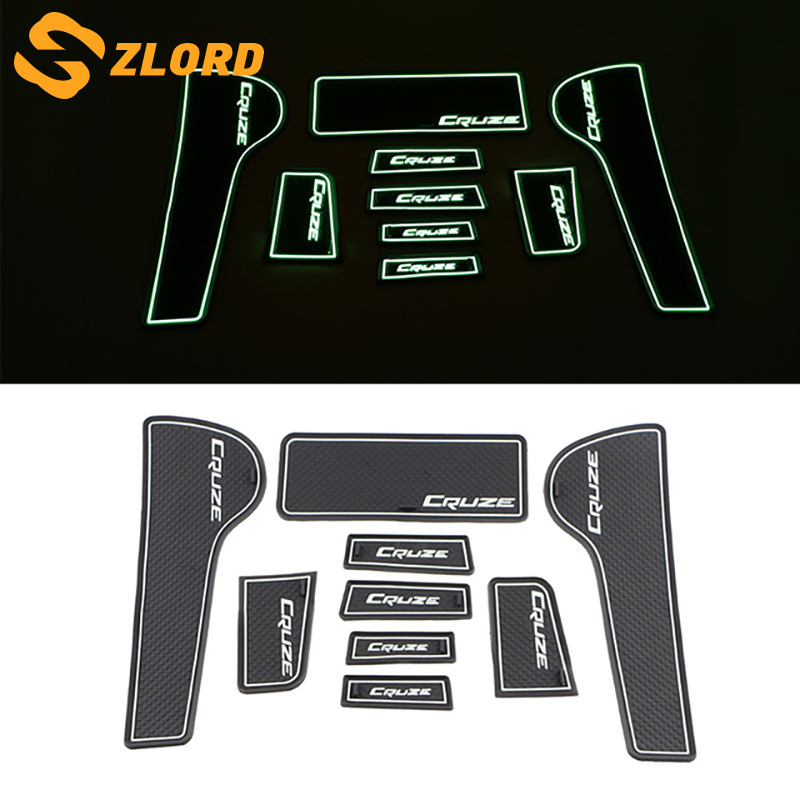 Zlord Silicone Car Door Groove Mat Doors Anti Slip Mats for Chevrolet Chevry Cruze Sedan Hatchback 2009 - 2015 Accessories