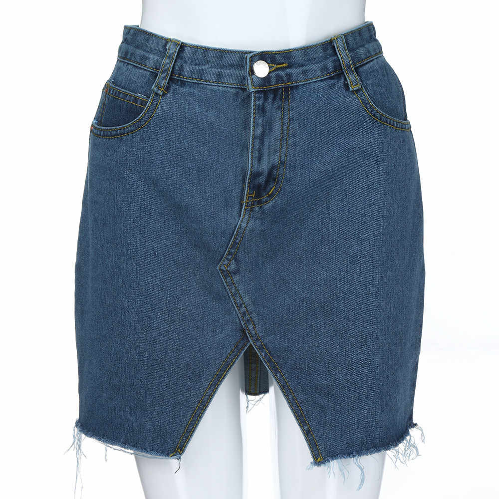 Jaycosin spódnica kobiety moda lato wysokiej talii denim hollow pół ciała spódnica Kawaii kobieta Bodycon krótki dżins spódnica