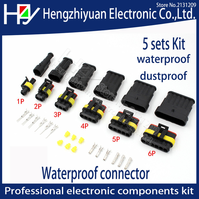 Hzy 2-5sets Kit 2 pin 1/2/3/4/5/6 pins Way AMP Super seal Waterproof Electrical Wire Connector Plug for car waterproof connector