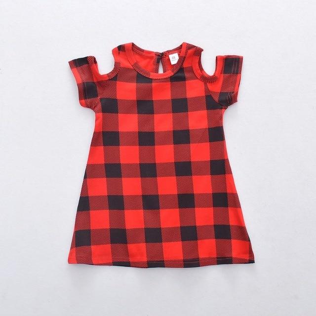 dd3d414cfc9e 2018 new girls princess dress Red black plaid bare shoulders short ...