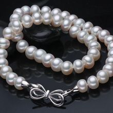 ASHIQI 10-11mm Big white Natural Freshwater Pearl Necklace For Women  Pearls jewelry christmas gifts