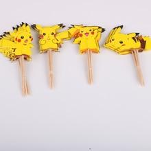 Набор из 24 штук, с героями мультфильмов, одежда с изображением покемона Пикачу для капкейка-вечерние кекс украшения для дня рождения предметы для вечеринки, сувениры