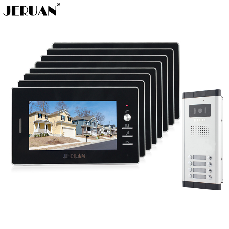 JERUAN New Apartment Intercom System 7`` Color Video Door Phone intercom System 8 monitors + 700TVL Camera  For Free shipping my apartment