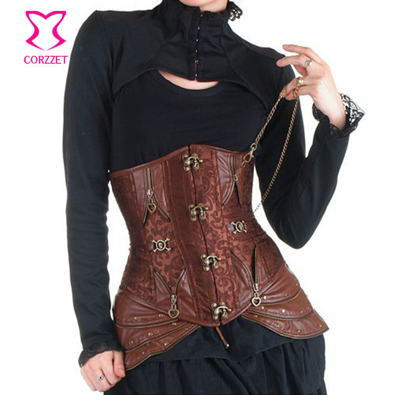 Waist Trainer Brown Underbust Sexy   Bustier     Corset   Steampunk Clothing Women Steel Boned Waist Cincher   Corsets   Gothic Corselet