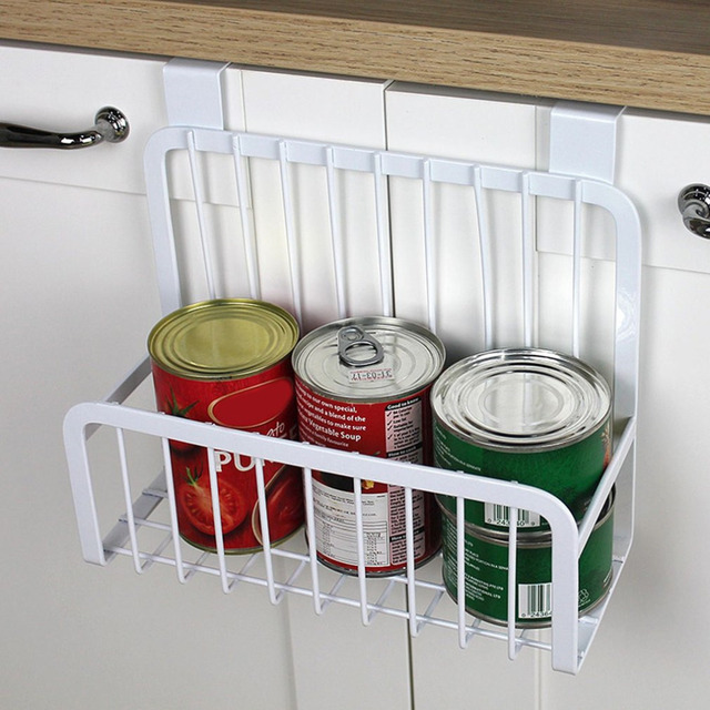 Kitchen Cabinet Hanging Rack Iron Shelves Hanging Wire Basket Storage  Organizer Kitchen Closet Office White Hanging