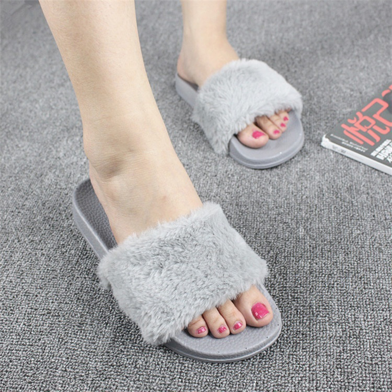Fur Slippers Platform Beach Sandals 2017 Creepers Summer Flip Flops Casual Flats Slip On Shoes Woman Zapatos Mujer lanshulan wedges gladiator sandals 2017 summer peep toe platform slippers casual glitters shoes woman slip on flats creepers