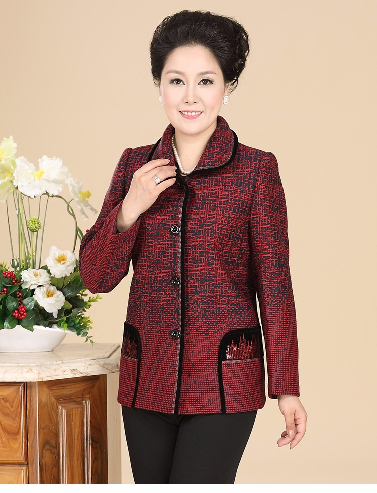 Chinese Autumn Jacket Women\'s 2016 Elegance Red Purple Coat For Middle Aged Woman Button Front Turn Down Collar Casaco Feminino 40s 50s 60s (6)