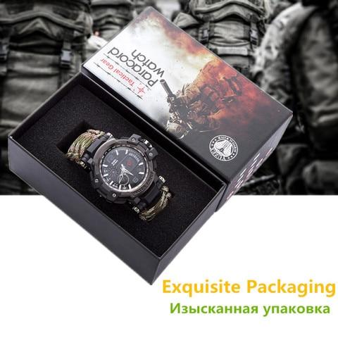 Água para os Homens Equipamento de Sobrevivência ao ar Livre Tático Relógio Multi-funcional 50 m Paracord Pulseira Relógio à Prova d' Camping Caminhadas Emergência