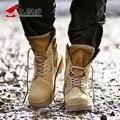 Bandagem Rendas Até À Prova D' Água Dos Homens do Estilo Britânico Vestido Exército Deserto Militar Trabalho Botas de Segurança Dos Homens de Algodão Acolchoado Desgaste Antiderrapante