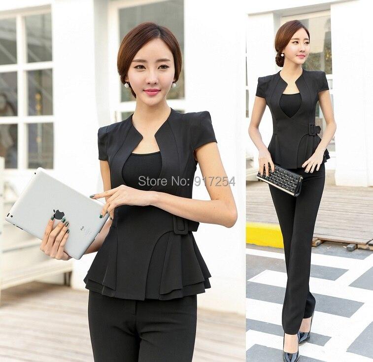 estilo uniforme pantsuits formales negros elegantes verano pantalones de mujer trajes de seoras de la